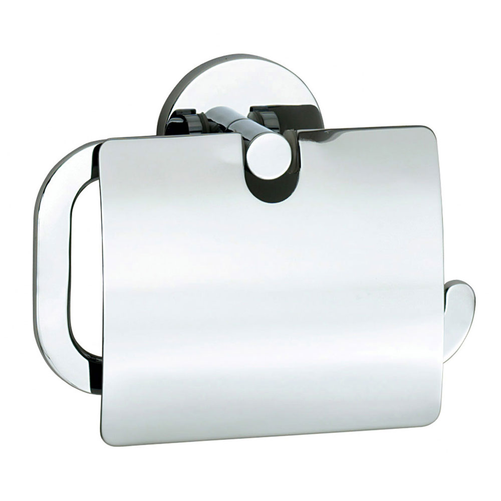Smedbo Loft Toilet Roll Holder with Cover - Polished Chrome - LK3414 Large Image