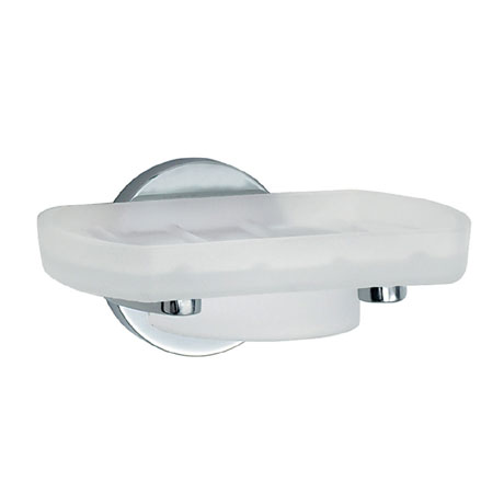 Smedbo Loft Holder with Frosted Glass Soap Dish - Polished Chrome - LK342