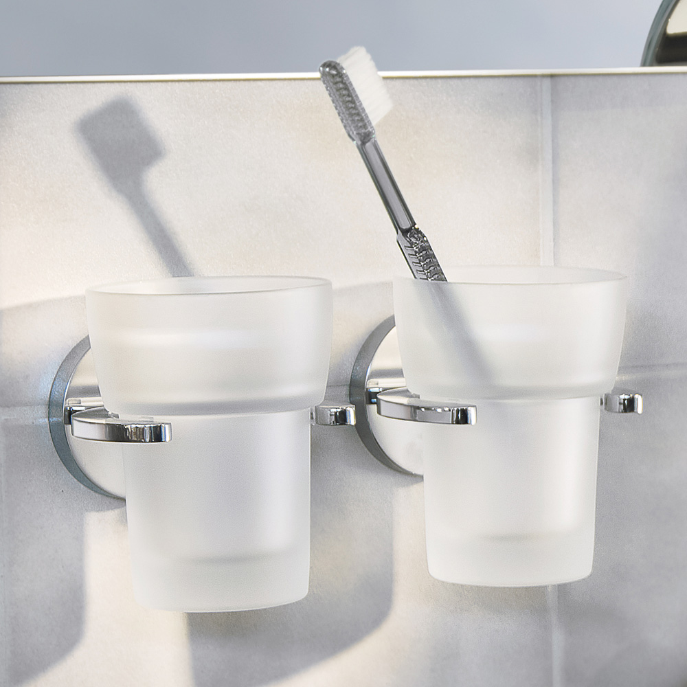 Smedbo Loft Holder with Frosted Glass Tumbler - Polished Chrome - LK343 profile large image view 2
