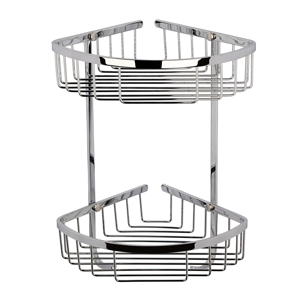 Chrome Large 2 Tier Corner Basket - LL308 profile large image view 1