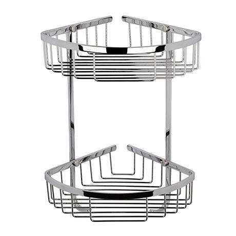 Hudson Reed Chrome Large 2 Tier Corner Basket - LL308