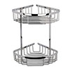 Hudson Reed Chrome Large 2 Tier Corner Basket - LL308 profile small image view 1