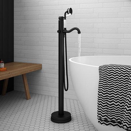 Lancaster Traditional Matt Black Single Lever Freestanding Bath Shower Mixer
