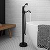 Lancaster Traditional Matt Black Single Lever Freestanding Bath Shower Mixer profile small image view 1