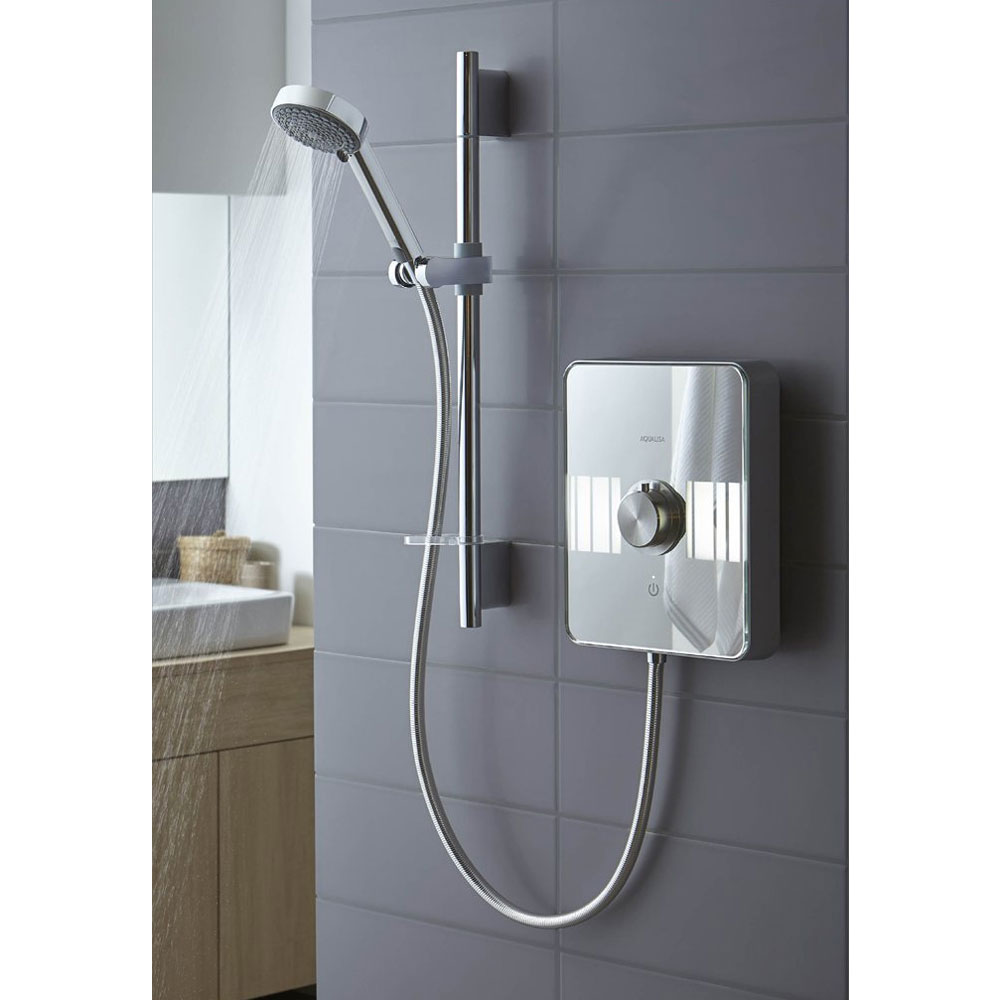 Aqualisa - Lumi Electric Shower with Adjustable Head - White/Chrome Feature Large Image