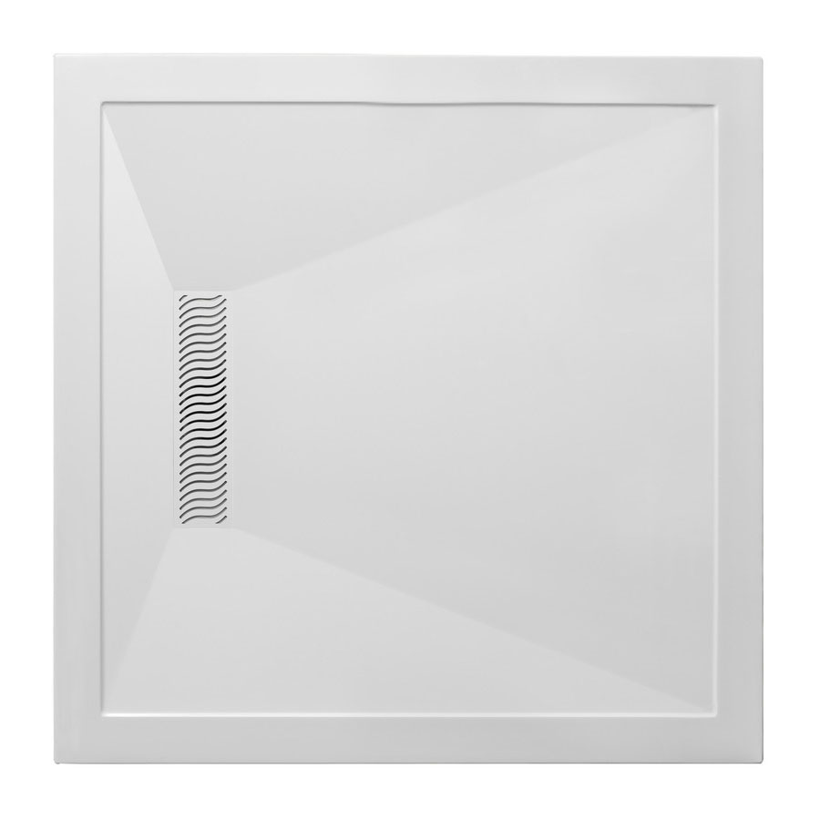 Simpsons - Square Low Profile Stone Resin Shower Tray with Linear Waste - 900 x 900 x 25mm profile large image view 1
