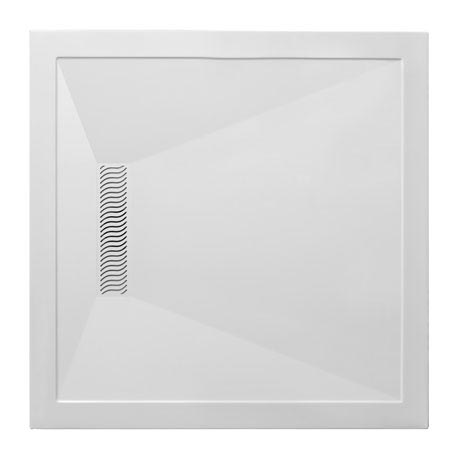 Simpsons - Square Low Profile Stone Resin Shower Tray with Linear Waste - 900 x 900 x 25mm