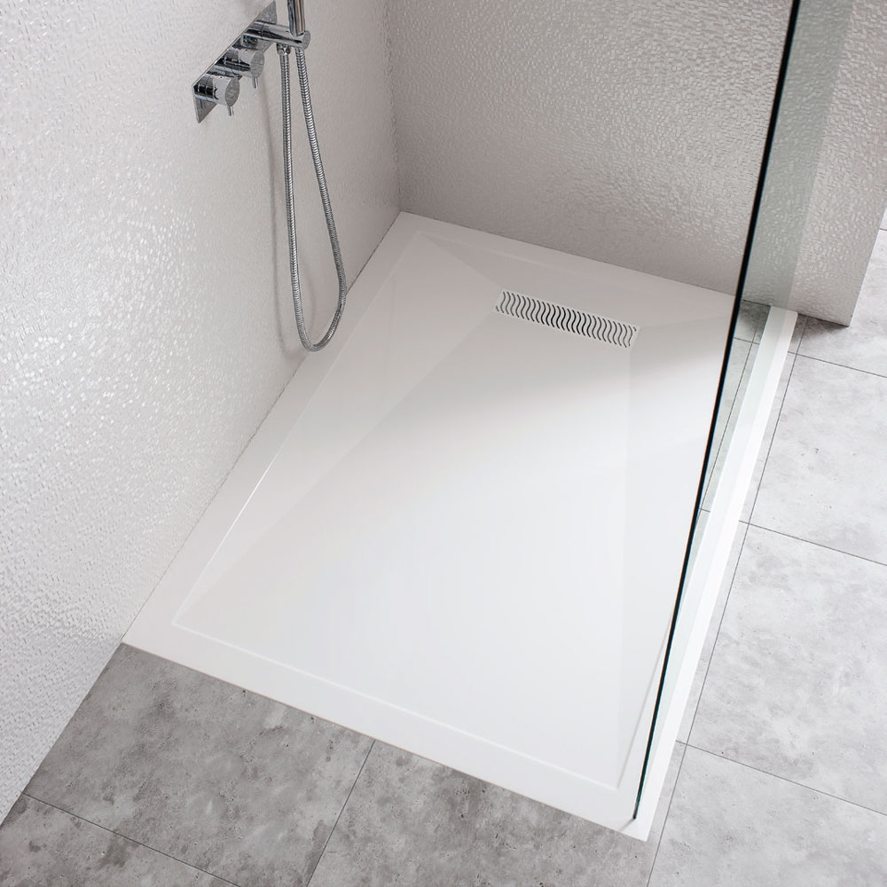 Simpsons - Rectangular Low Profile Stone Resin Shower Tray with Linear Waste - Various Size Options profile large image view 2
