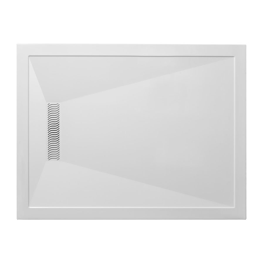Simpsons - Rectangular Low Profile Stone Resin Shower Tray with Linear Waste - Various Size Options Large Image
