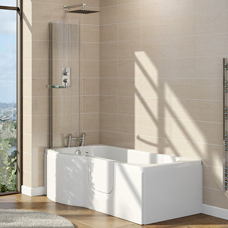 Lockwood Walk In 1675mm P Shaped Bath Inc. Screen + Front Panel