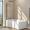 Milton Walk In 1675mm P Shaped Bath inc. Screen + Front Panel profile small image view 1