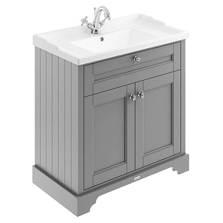 Old London 800mm 2-Door Cabinet & Basin - Storm Grey