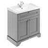 Old London 800mm 2-Door Cabinet & Basin - Storm Grey profile small image view 1