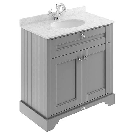 Old London 800mm Cabinet & Single Bowl Grey Marble Top - Storm Grey