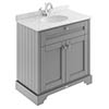 Old London 800mm Cabinet & Single Bowl Grey Marble Top - Storm Grey profile small image view 1