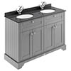 Old London 1200mm Cabinet & Double Bowl Black Marble Top - Storm Grey profile small image view 1