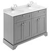 Old London 1200mm Cabinet & Double Bowl White Marble Top - Storm Grey profile small image view 1