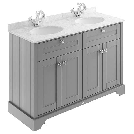 Old London 1200mm Cabinet & Double Bowl Grey Marble Top - Storm Grey