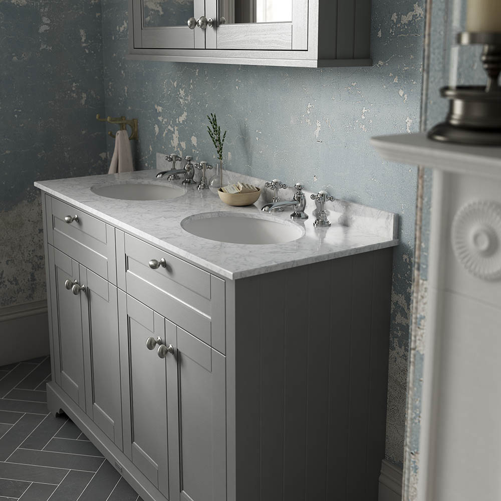 Old London 1200mm Cabinet & Double Bowl Grey Marble Top - Storm Grey | Traditional Bathroom Design Ideas