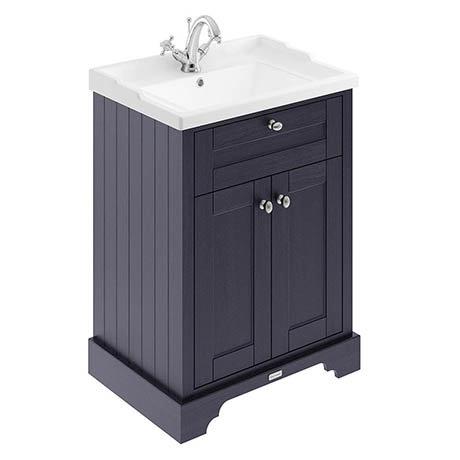 Old London 600mm 2-Door Cabinet & Basin - Twilight Blue