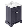 Old London 600mm 2-Door Cabinet & Basin - Twilight Blue profile small image view 1