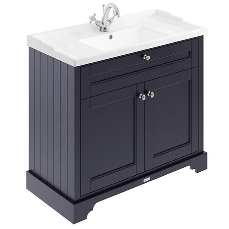 Old London 1000mm 2-Door Cabinet & Basin - Twilight Blue