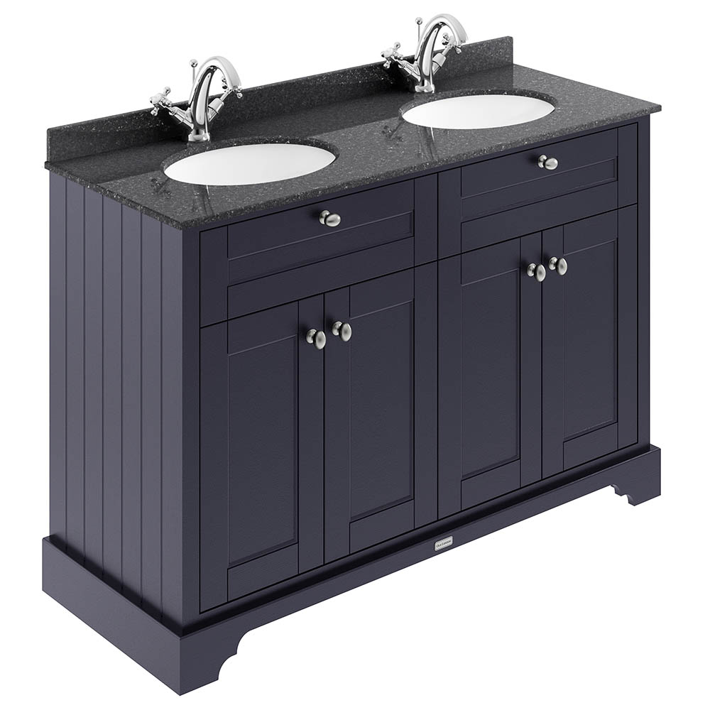 The Old London 1200mm Cabinet & Double Bowl Black Marble Top