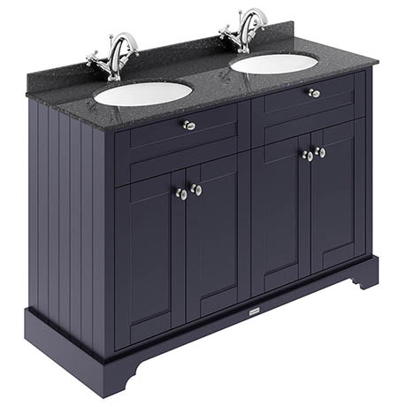 Old London 1200mm Cabinet & Double Bowl Black Marble Top - Twilight Blue