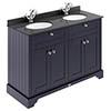 Old London 1200mm Cabinet & Double Bowl Black Marble Top - Twilight Blue profile small image view 1