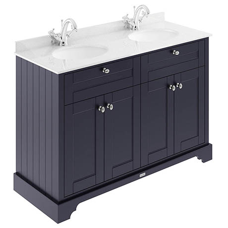 Old London 1200mm Cabinet & Double Bowl White Marble Top - Twilight Blue