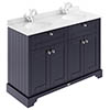 Old London 1200mm Cabinet & Double Bowl White Marble Top - Twilight Blue profile small image view 1
