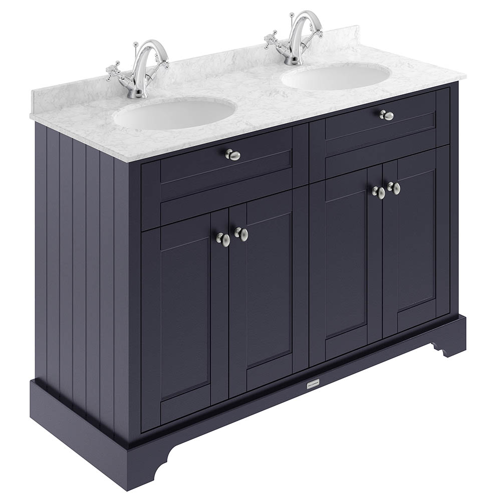 Old London 1200mm Cabinet & Double Bowl Grey Marble Top - Twilight Blue