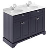 Old London 1200mm Cabinet & Double Bowl Grey Marble Top - Twilight Blue profile small image view 1