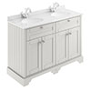 Old London 1200mm Cabinet & Double Bowl White Marble Top - Timeless Sand profile small image view 1