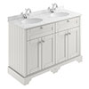 Old London 1200mm Cabinet & Double Bowl Grey Marble Top - Timeless Sand profile small image view 1