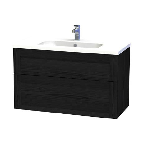 Miller - London 100 Wall Hung Two Drawer Vanity Unit with Ceramic Basin - Black Large Image