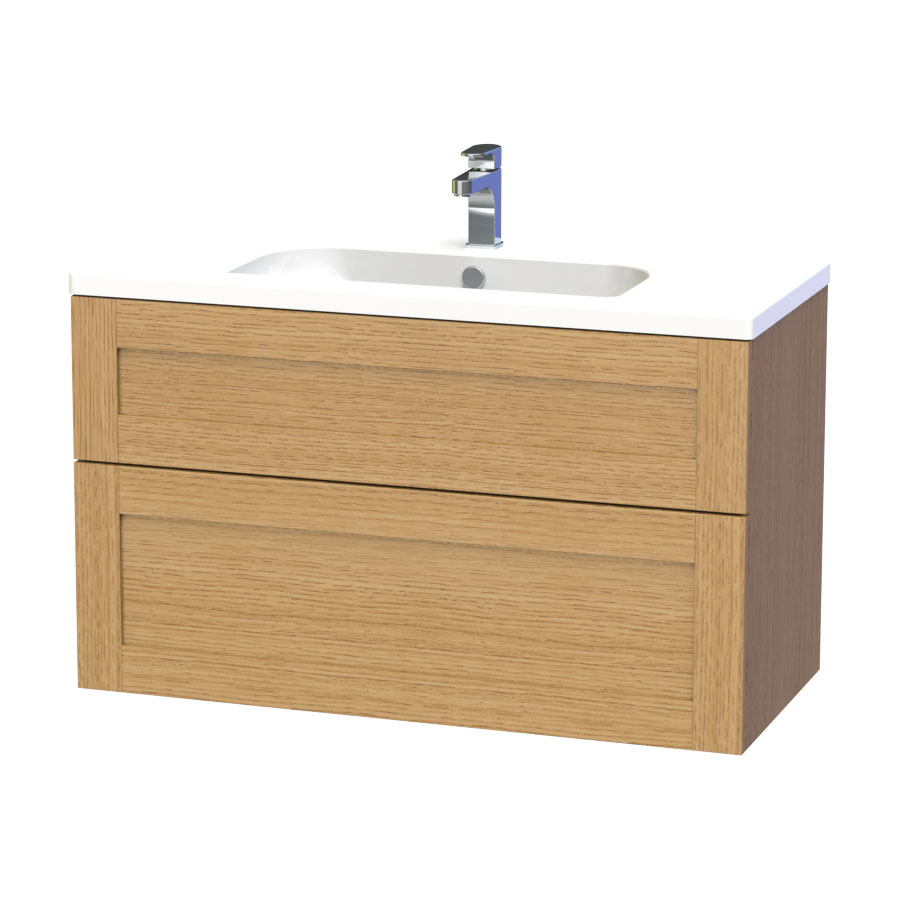 Miller - London 100 Wall Hung Two Drawer Vanity Unit with Ceramic Basin - Oak Large Image