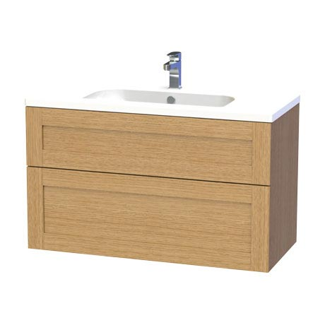 Miller - London 100 Wall Hung Two Drawer Vanity Unit with Ceramic Basin - Oak