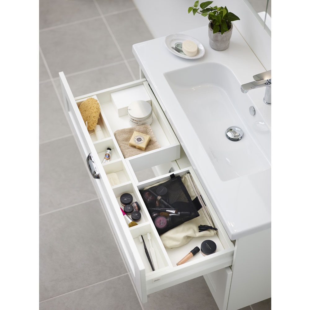 Miller - London 100 Wall Hung Two Drawer Vanity Unit with Ceramic Basin - Oak In Bathroom Large Image