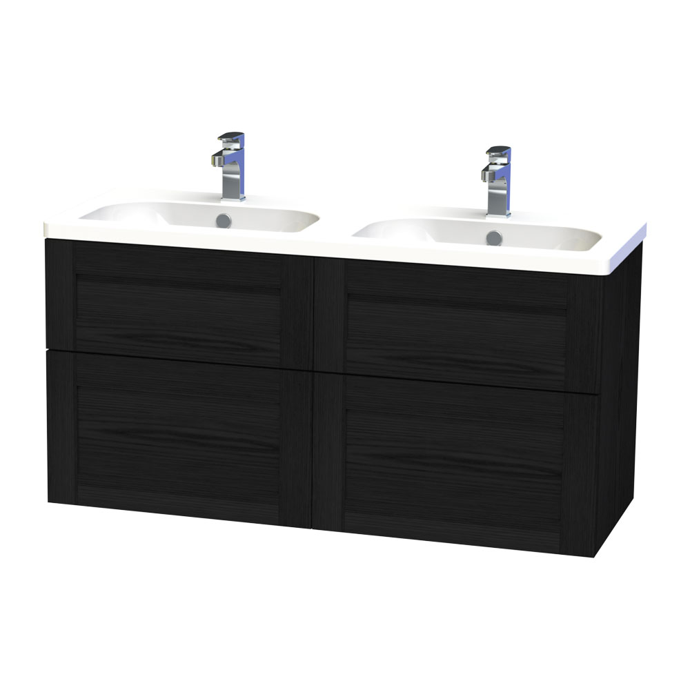 Miller - London 120 Wall Hung Four Drawer Vanity Unit with Double Ceramic Basin - Black Large Image