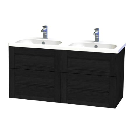 Miller - London 120 Wall Hung Four Drawer Vanity Unit with Double Ceramic Basin - Black