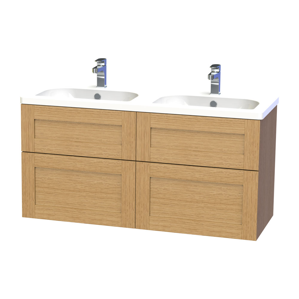 Miller - London 120 Wall Hung Four Drawer Vanity Unit with Double Ceramic Basin - Oak Large Image