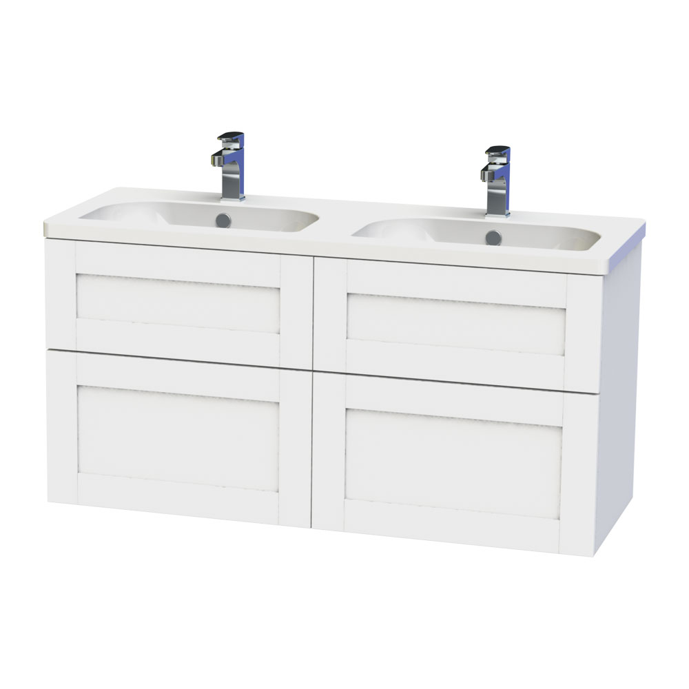 Miller London 120 Wall Hung Four Drawer Vanity Unit + Double Basin (White) profile large image view 1