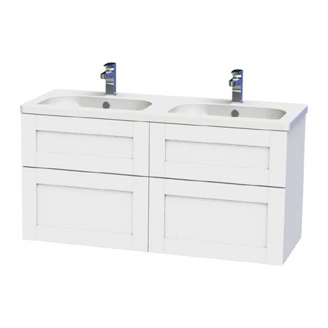 Miller - London 120 Wall Hung Four Drawer Vanity Unit with Double Ceramic Basin - White