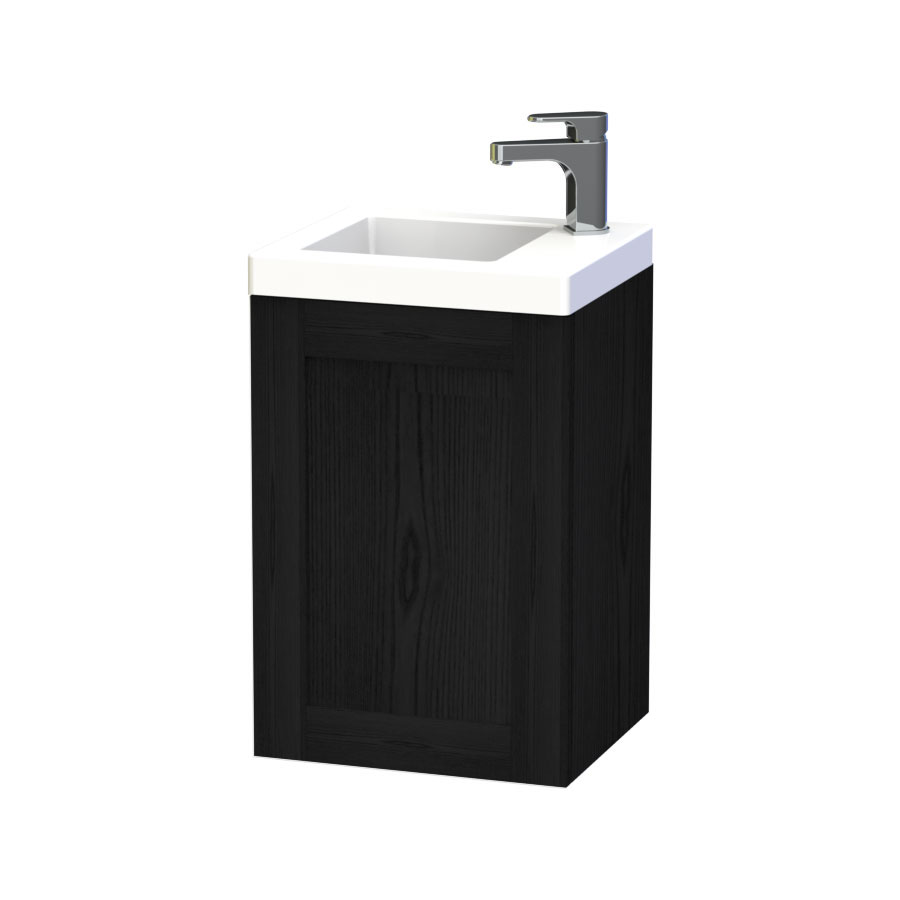 Miller - London 40 Wall Hung Single Door Vanity Unit with Ceramic Basin - Black Large Image