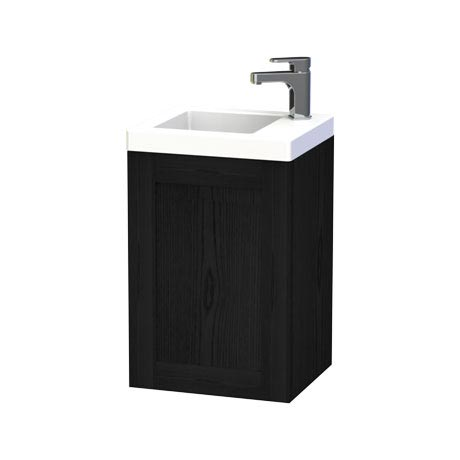 Miller - London 40 Wall Hung Single Door Vanity Unit with Ceramic Basin - Black