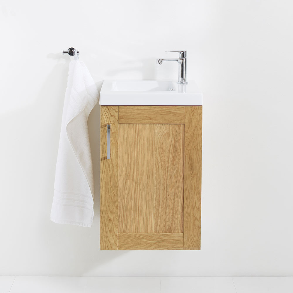 Miller - London 40 Wall Hung Single Door Vanity Unit with Ceramic Basin - Oak profile large image view 5