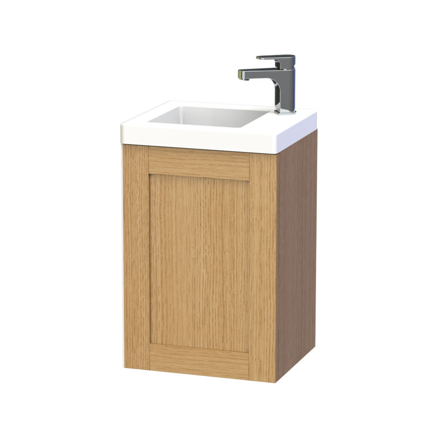 Miller - London 40 Wall Hung Single Door Vanity Unit with Ceramic Basin - Oak Large Image