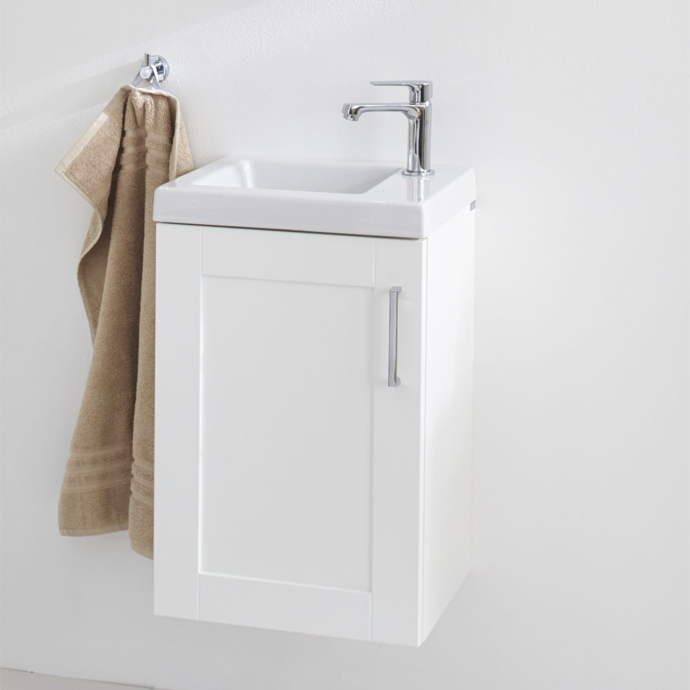 Miller - London 40 Wall Hung Single Door Vanity Unit with Ceramic Basin - White In Bathroom Large Image