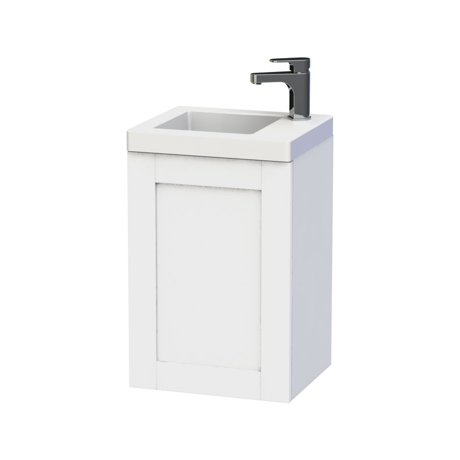 Miller - London 40 Wall Hung Single Door Vanity Unit with Ceramic Basin - White Large Image